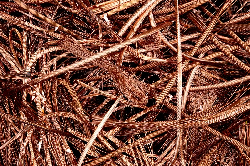 A tangle of wires for copper wire recycling